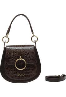 Bolsa Em Couro Recuo Fashion Bag Transversal Croco Tabaco