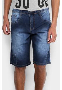 Bermuda Jeans Biotipo Elastano Escura Masculina - Masculino-Azul