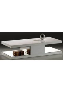 Mesa Centro Apple Laca Branco Brilho Com Espelho - 22513 Sun House