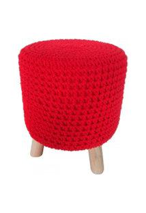 Puff De Madeira E Crochet Vermelho