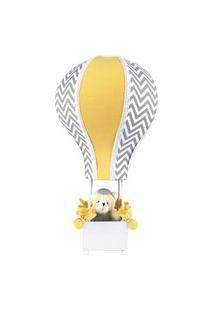 Abajur Balãozinho Cintura Urso Chevron Cinza Quarto Bebê Infantil Menino Menina