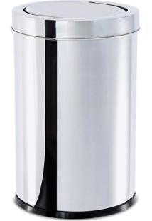 Lixeira Inox C/ Tampa Basculante 25X46Cm - Brinox - Inox