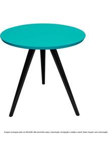 Mesa Lateral De Canto Tripé Pequena Laqueada Preta E Azul Tiffany