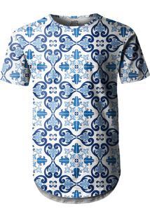 Camiseta Longline Over Fame Azulejo Branco