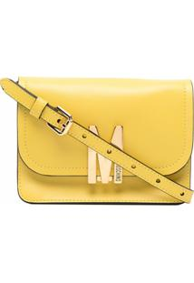 Moschino M Logo-Plaque Shoulder Bag - Amarelo