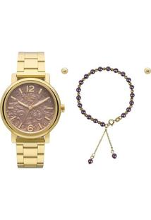 Relógio Allora Flor Al2036Ch/K4M + Colar E Brincos - Feminino-Dourado