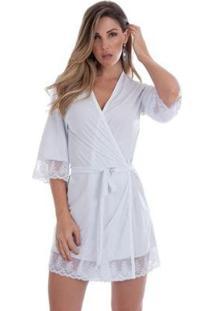Robe Em Microfibra Feminino - Feminino-Branco