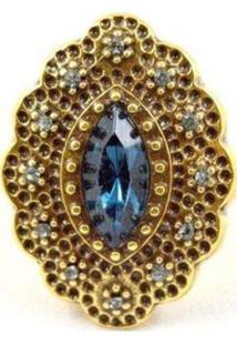 Anel Alessandra Diana Swarovski Ouro Velho Azul