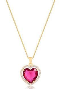 Colar De Coração Com Pedra Natural Rosa Cravejado Com Zircônias Folheado Francisca Joias - Feminino-Dourado