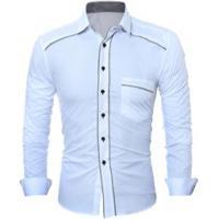1f7c2ba85 Camisa Social Masculina Slim Fit Com Detalhe Estampado Manga Longa - Branco