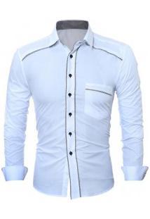 Camisa Social Masculina Slim Fit Com Detalhe Estampado Manga Longa - Branco