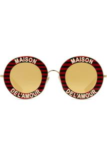 Gucci Eyewear Round Acetate Sunglasses - Vermelho