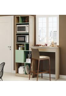 Armário De Cozinha Smart 2 Portas Aveiro/Verde - Bentec