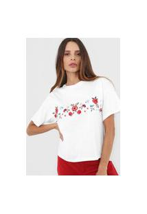 Camiseta Lança Perfume Bordada Branca