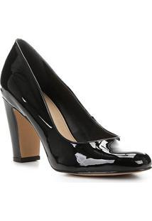 Scarpin Shoestock Verniz Salto Alto - Feminino-Preto