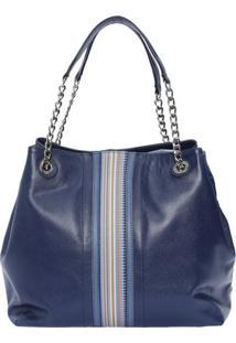 Bolsa Em Couro Com Recorte- Azul Marinho & Bege Claro