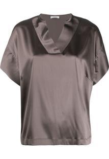 Peserico Short Sleeved Blouse - Cinza