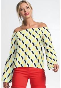 Blusa Ombro A Ombro Geométrico Amarelo E Branco