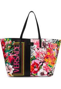 Versace Bolsa Tote Floral - Preto