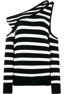 Balmain Suéter Listrado Com Sobreposição - Preto