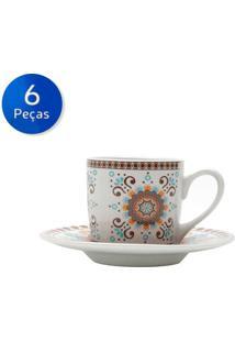 Conjunto De Xícaras Para Café Com Pires 6 Peças 90 Ml Hype Style-Bon Gourmet - Branco