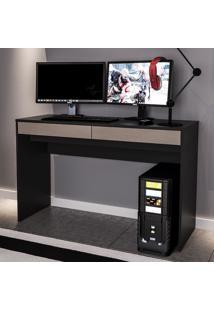 Mesa Para Computador Lindóia 2 Gavetas Preto/Cinza - Politorno