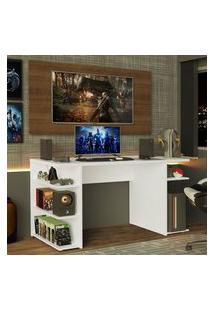 Mesa Para Computador Gamer E Painel Para Tv Até 50 Madesa Branco/Rustic Branco