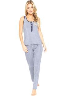 Pijama Hope Listras Azul/Branca