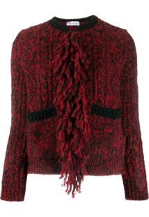 Red Valentino Cardigan Decote Careca Com Franjas - Vermelho
