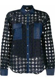 Karl Lagerfeld Blusa Jeans Burn Out - Preto