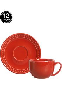 Jogo De Xícaras De Chá 12 Pçs Sevilha Vermelho Porto Brasil