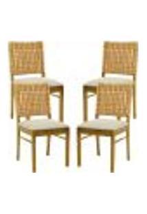 Kit 04 Cadeiras Para Sala De Jantar E Cozinha Sit Oregon Linho Rústico Bege Claro - Gran Belo