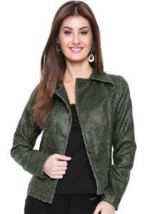 Jaqueta Estilo Boutique De Couro Craquelado Verde