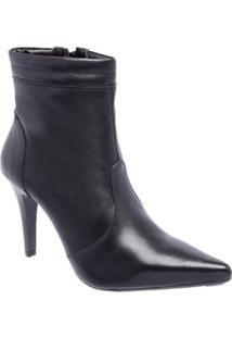 Bota Couro Cano Curto D&R Shoes Salto Fino Feminina - Feminino-Preto
