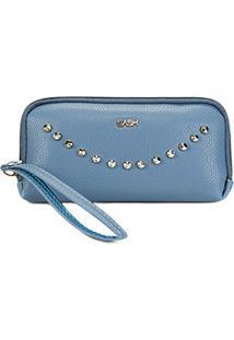 Carteira Gash Ziper Spikes Feminina - Feminino-Azul