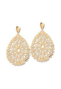 Brinco Le Diamond Folha Mandala Dourado