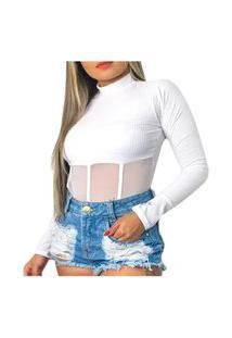 Body Canelado Manga Longa Trend Gola Alta Detalhe Tiras Tule Nstore Branco