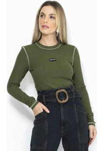 Blusa Canelada Manga Longa Verde