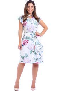Vestido Miss Lady Viscose Floral Bege