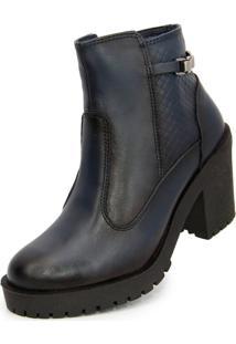 Bota Ankle Boot Salto Médio Sapatofranca Não Possui Cadarço Azul Escuro