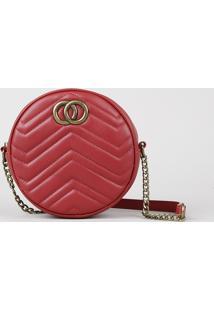 Bolsa Feminina Transversal Pequena Redonda Com Matelassê Vermelha