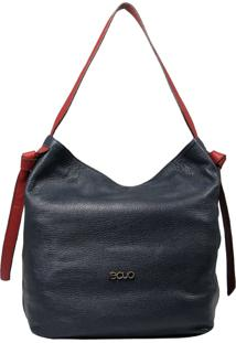 Bolsa De Couro Recuo Fashion Bag Hobo Azul Marinho