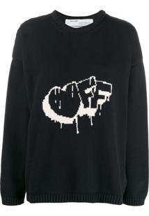 Off-White Suéter De Tricô Com Padronagem - Preto