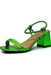 Sandália Salto Bloco Metalizada Verde