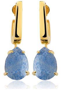 Brinco Toque De Joia Mini Anzol Quartzo Azul - Feminino-Dourado