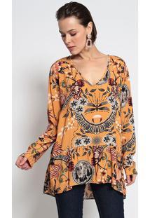 Blusa Floral Com Recortes - Amarela & Verdegatabakana
