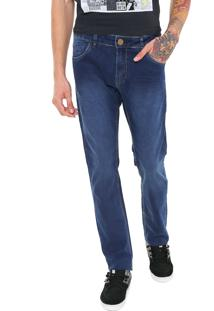 Calça Jeans Ride Skateboard Reta Estonada Azul