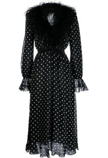 Alessandra Rich Polka Dot Print Dress - Preto
