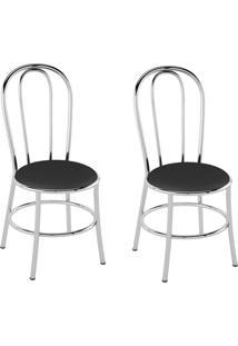 Kit Com 2 Cadeiras Corino Preto/Cromado Pozza