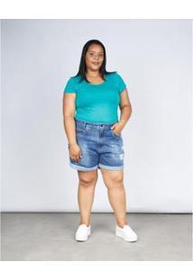 Bermuda Jeans Besni Boyfriend Plus Destroyed Barra Dobrada Feminina - Feminino-Azul Claro